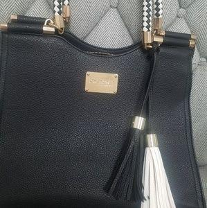 Bebe black leather satchel